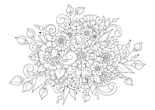 Coloriage floral horizontal.