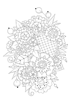 Coloriage floral vertical.
