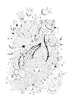 Coloriage avec de grandes et petites fleurs. fond noir et blanc à colorier.