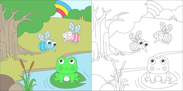 Coloriage grenouille et moustiques