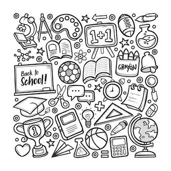 Coloriage de griffonnage dessiné à la main de l'école