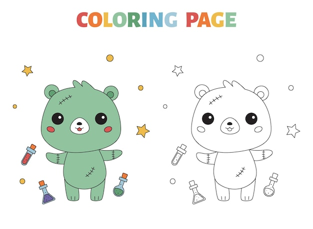 Coloriage halloween avec ours zombie