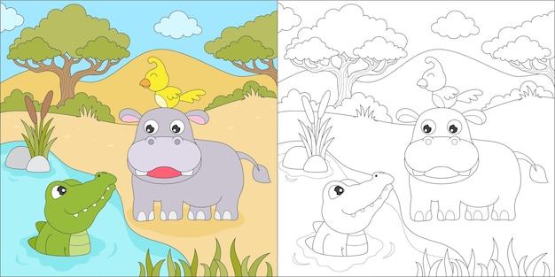 Coloriage hippopotame et crocodile