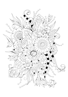 Coloriage horizontal avec des fleurs abstraites pour enfants et adultes