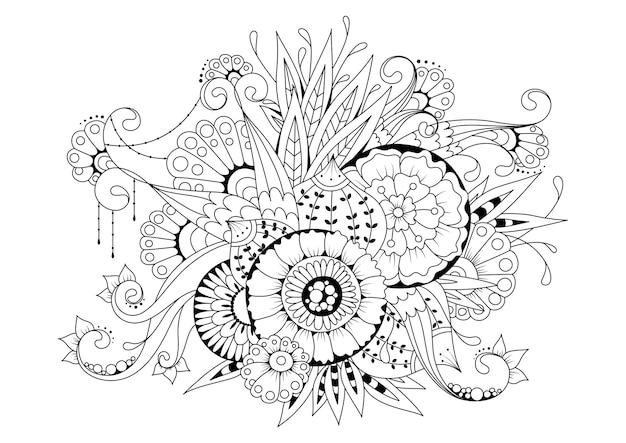 Coloriage horizontal avec des fleurs et des bourgeons. illustration noir-blanc