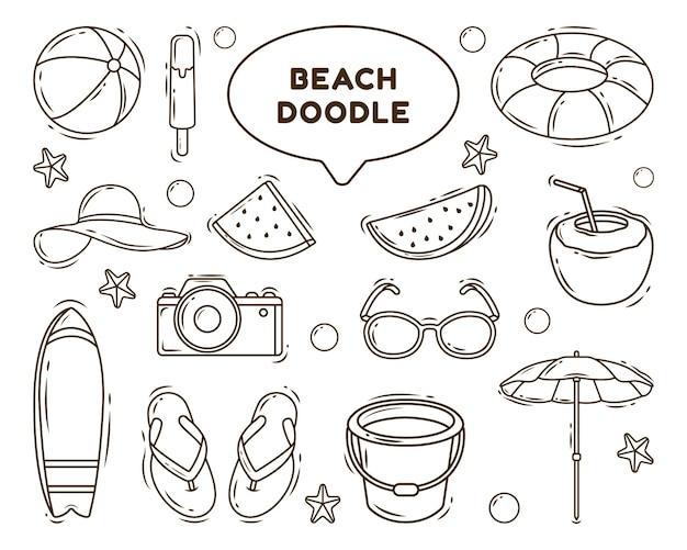 Coloriage d'illustration de doodle cartoon plage dessinés à la main
