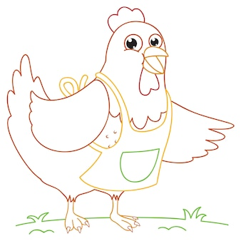 Coloriage illustration de poulet de dessin animé