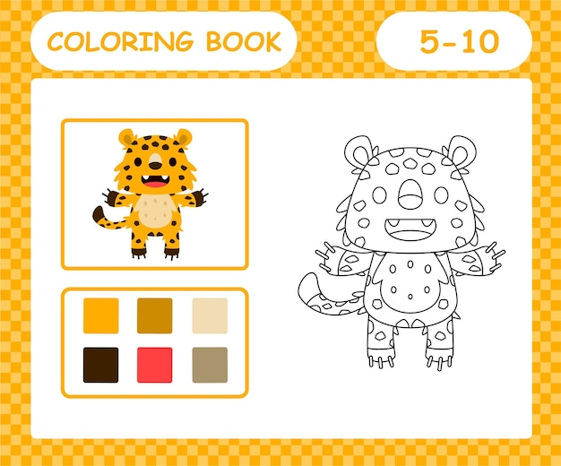 Coloriage jaguar dessin animé, jeu éducatif pour les enfants de 5 et 10 ans