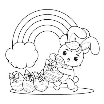 Coloriage joyeuses pâques avec lapin