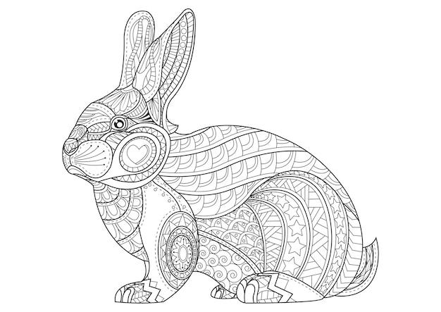 Coloriage lapin. vecteur de bunny doodle vintage dessiné à la main