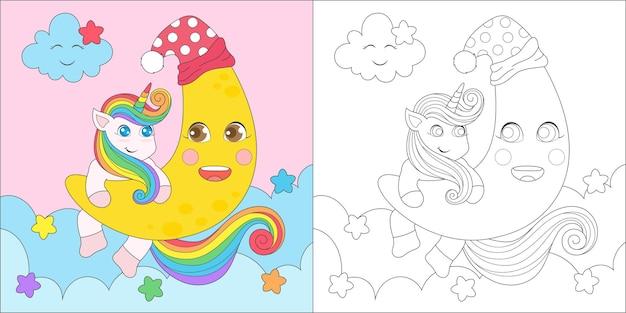 Coloriage licorne et lune