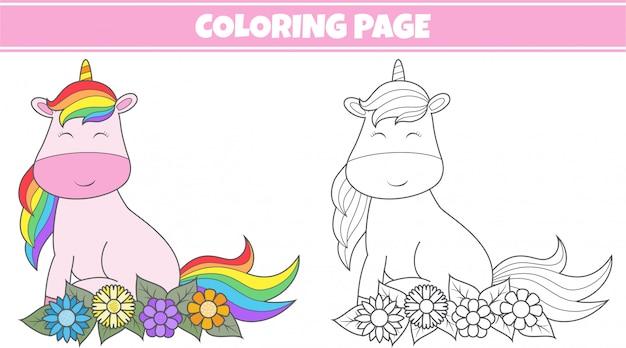 Coloriage licorne mignonne
