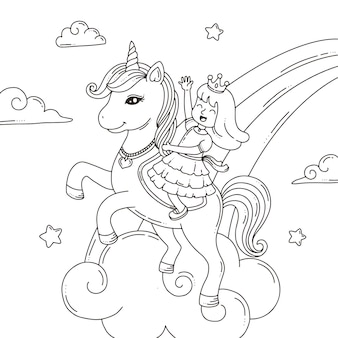 Coloriage la licorne et la princesse