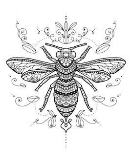 Coloriage de mandala d'abeille.