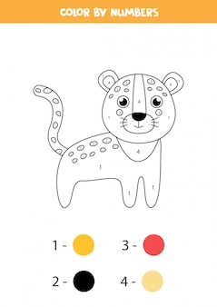 Coloriage mathématique pour les enfants. léopard de dessin animé mignon.