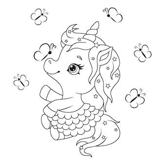 Coloriage mignon petite licorne avec des papillons
