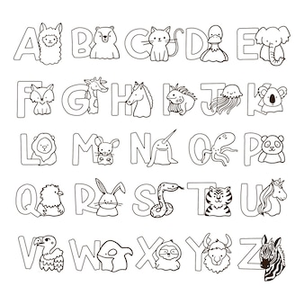 Coloriage mignon pour les enfants avec alphabet