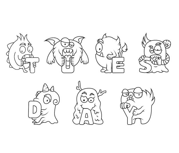 Coloriage mignon pour les enfants avec collection de monstres