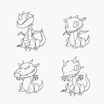 Coloriage mignon pour les enfants avec dragon