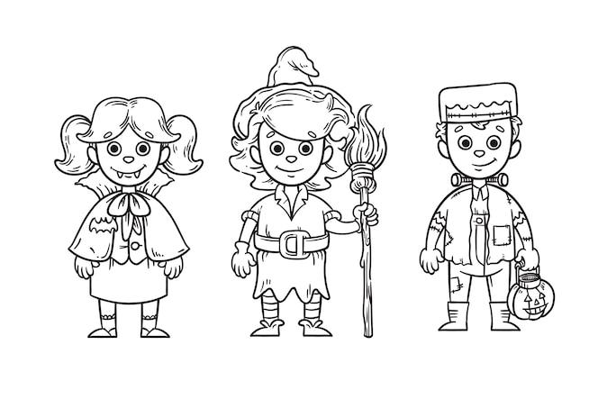 Coloriage Mignon Pour Les Enfants Avec Le Magicien D Oz Vecteur Premium