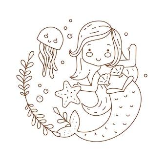 Coloriage mignon pour les enfants avec la princesse de la mer