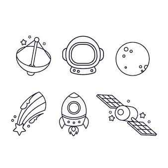 Coloriage mignon pour les enfants avec des vaisseaux spatiaux