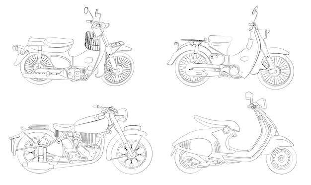 Coloriage de motos de dessin animé pour les enfants