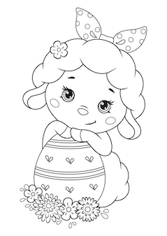 Coloriage mouton de pâques avec oeuf