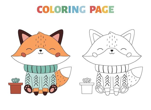 Coloriage de noël avec un renard mignon dans le pull