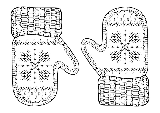 Coloriage de noël de vecteur pour les adultes. mitaines tricotées