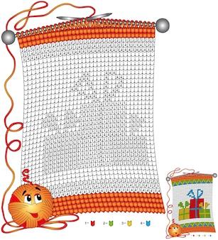 Coloriage de noël de vecteur. tâches pour les enfants couleur par numéro sous la forme d'une écharpe tricotée