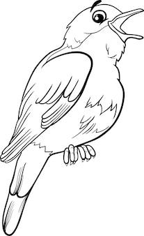 Coloriage oiseau rossignol