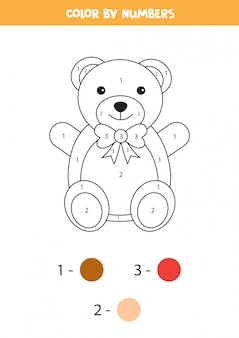 Coloriage avec ours en peluche dessin animé mignon.