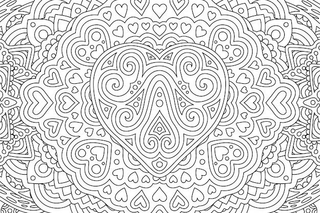 Coloriage page de livre avec différentes formes de coeur