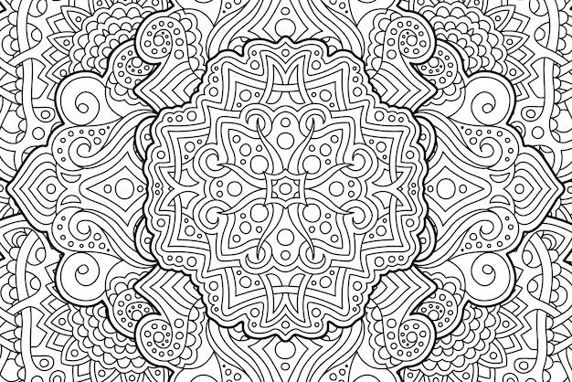 Coloriage page de livre avec motif linéaire abstrait