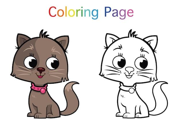 Coloriage de personnage de chat de dessin animé pour les enfants illustration vectorielle