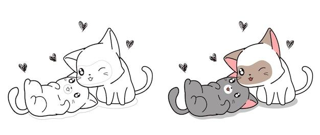 Coloriage de personnage de dessin animé de chats amoureux