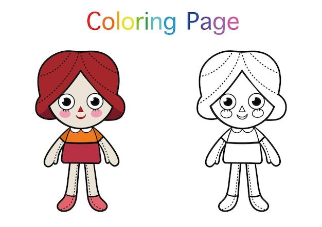 Coloriage de personnage de poupée de dessin animé pour les enfants illustration vectorielle