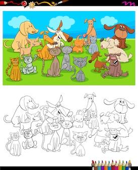 Coloriage de personnages de chiens et de chats
