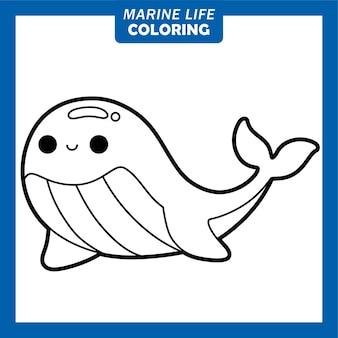 Coloriage de personnages de dessins animés mignons de la vie marine baleine bleue