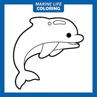 Coloriage personnages de dessins animés mignons de la vie marine dauphin