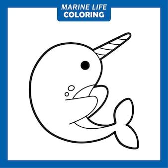 Coloriage personnages de dessins animés mignons de la vie marine narval