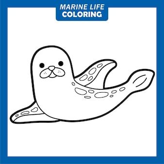 Coloriage personnages de dessins animés mignons de la vie marine phoque annelé
