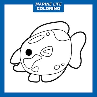 Coloriage personnages de dessins animés mignons de la vie marine reine parrot