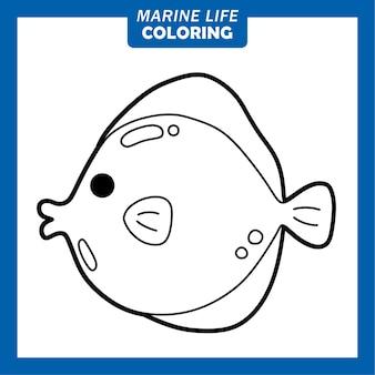 Coloriage personnages de dessins animés mignons de la vie marine tang jaune