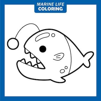 Coloriage de personnages de dessins animés mignons de la vie marine
