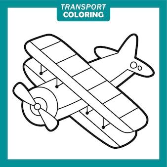 Coloriage de personnages de dessins animés de véhicules de transport mignons avec avion