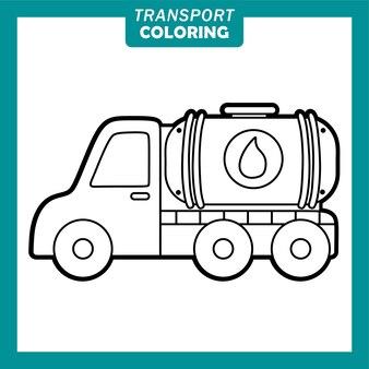 Coloriage de personnages de dessins animés de véhicules de transport mignons avec camion-citerne