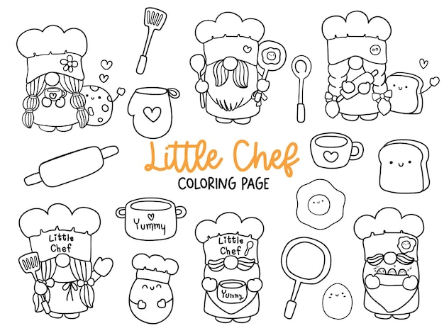 Coloriage petit chef gnome doodle cuisine gnome coloriage