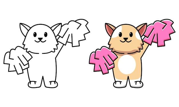 Coloriage de pom-pom girl chat pour les enfants
